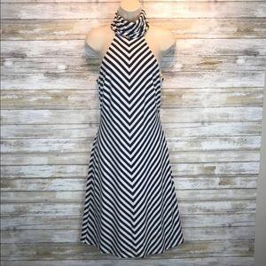 Trina Turk Navy/ white sleeveless dress sz 8
